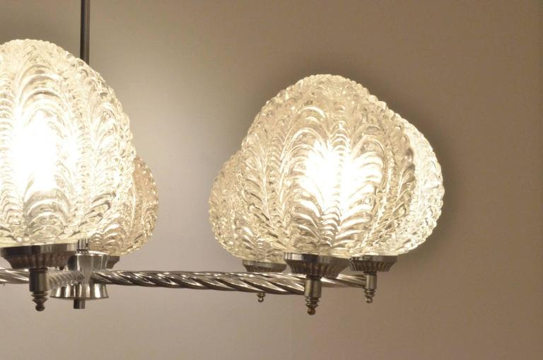 Art Deco Nickeled Metal & Seashell Patterned Glass Chandelier Pendant Lamp For Sale 5