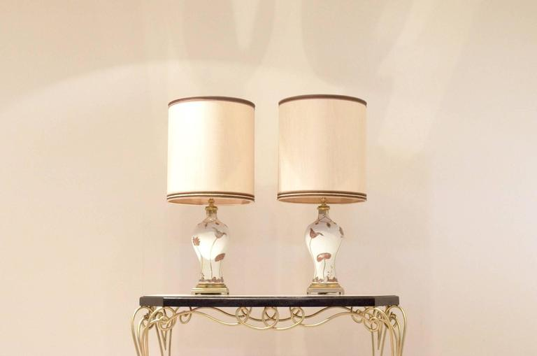 Two french mid century design table lamps bronze and - Porcelaine de table ...