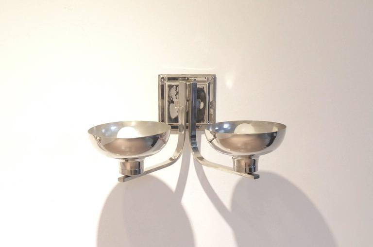 Set of Two Belgian Art Deco Nickeled Metal Classic Shaped Wall Sconces Lamps For Sale 2