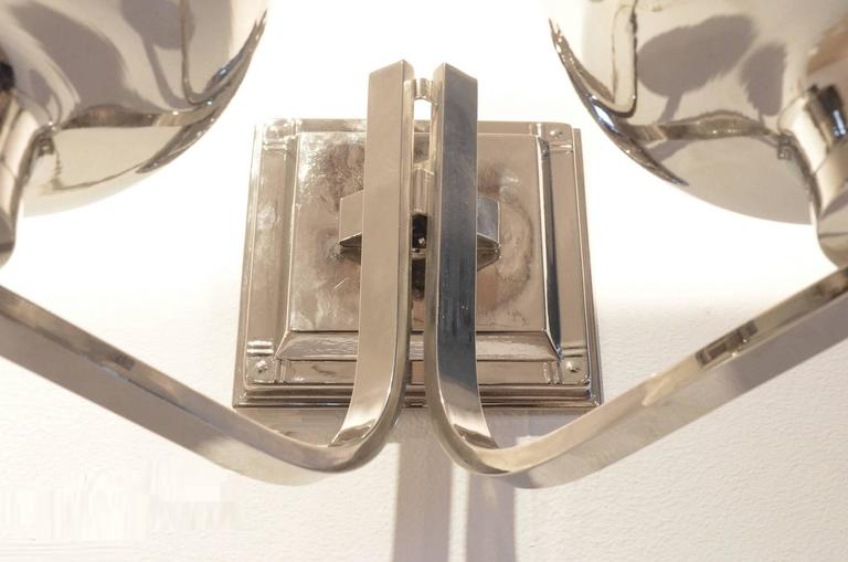 Set of Two Belgian Art Deco Nickeled Metal Classic Shaped Wall Sconces Lamps For Sale 5