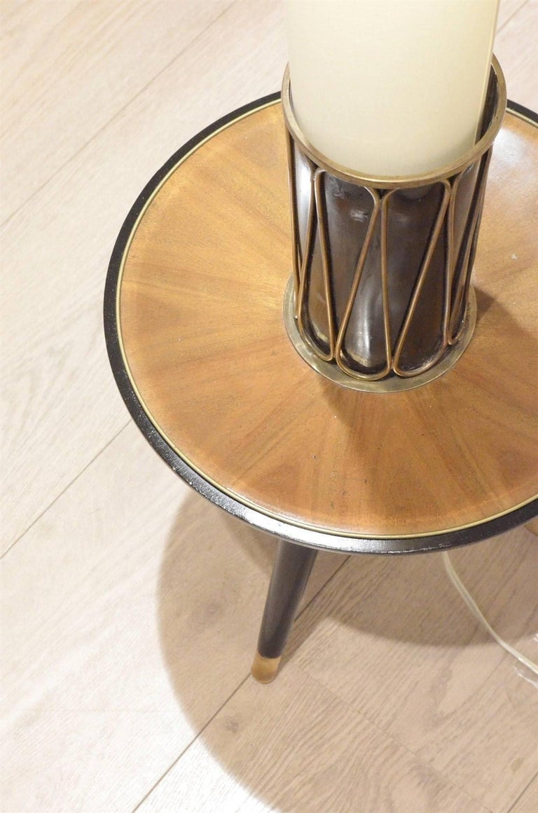 Mid-Century Italian Lacquered Wood & Cone shaped Textile Floor Lamp For Sale 3