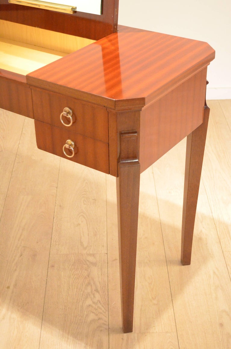 Art Deco Neoclassic Shellac Mahogany And Birch Wood Make Up Vanity Console Table For Sale At 1stdibs