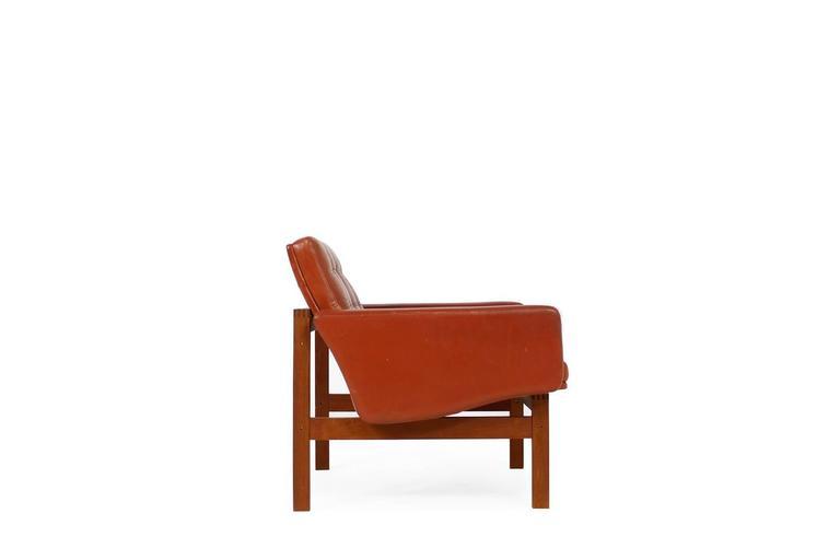 Fantastic Danish easy chair, teak and leather. Ole Gjerløv-Knudsen & Torben Lind for CADO, Denmark. Good condition, fantastic design.
