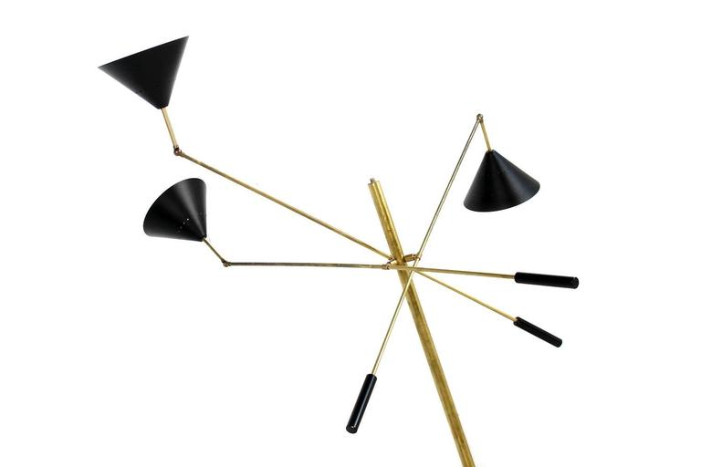 Contemporary Exclusive Adjustable Italian Triennale Floor Lamp Brass & Marble Stilnovo Style For Sale