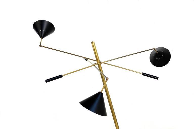 Exclusive Adjustable Italian Triennale Floor Lamp Brass & Marble Stilnovo Style For Sale 2