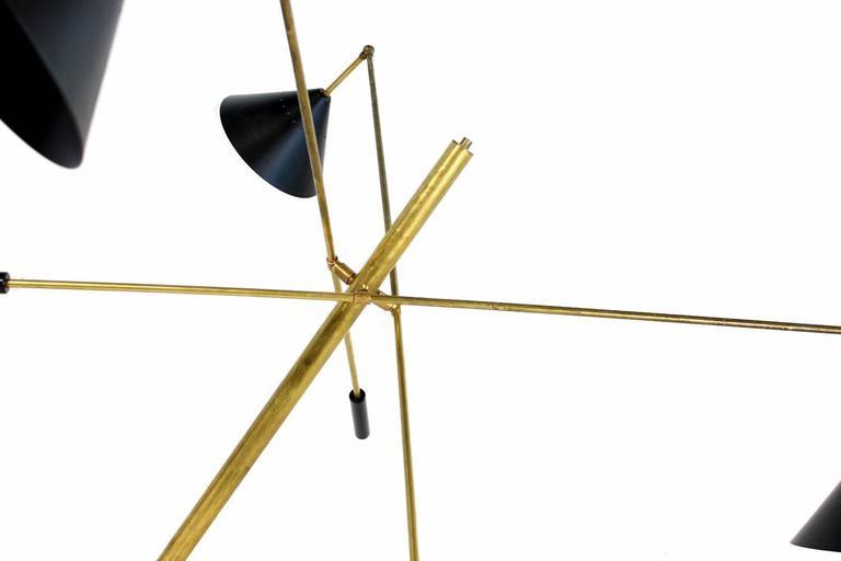 Mid-Century Modern Exclusive Adjustable Italian Triennale Floor Lamp Brass & Marble Stilnovo Style For Sale