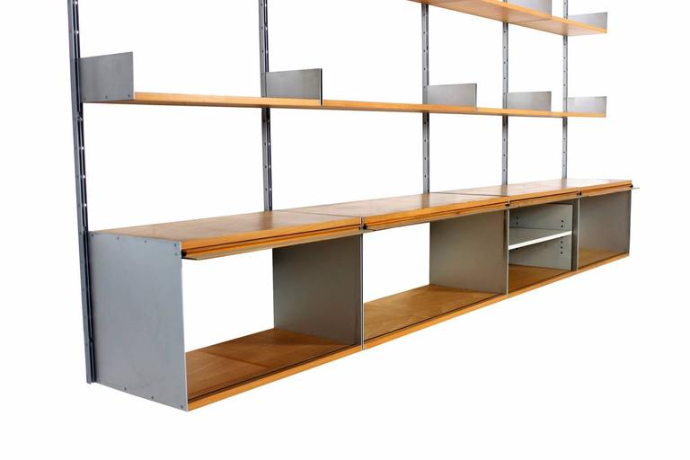 rare 1960s dieter rams 606 beechwood and aluminium modular wall unit for vitsoe at 1stdibs. Black Bedroom Furniture Sets. Home Design Ideas