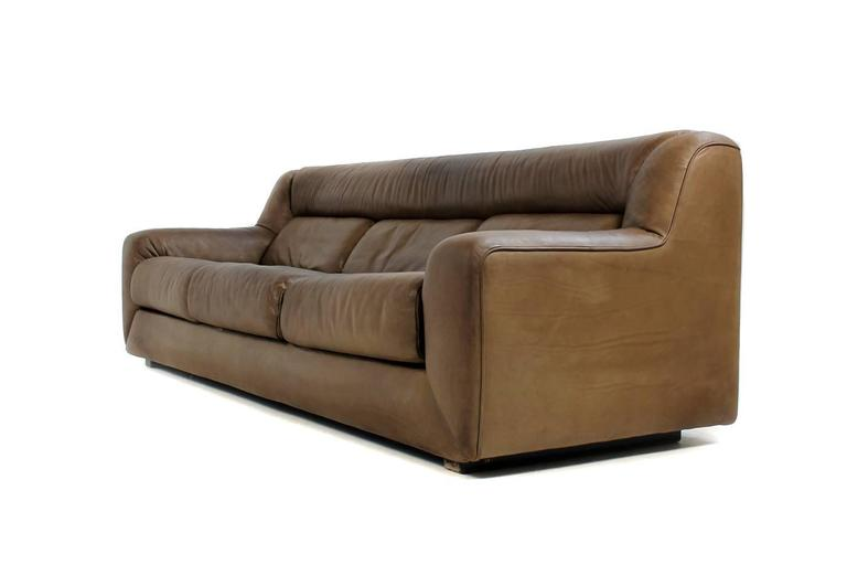 Beautiful Dark Cognac Vintage De Sede DS 43 Lounge Sofa From Late 1970s  With Three Extendable
