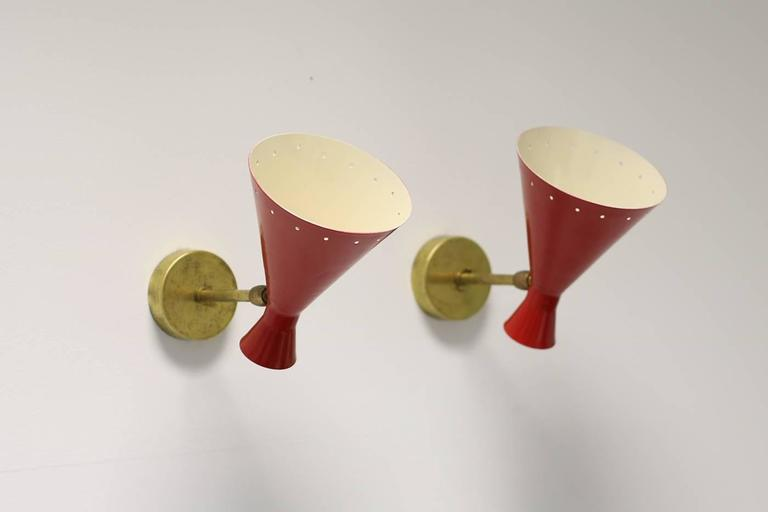 1 of 16 Beautiful Adjustable Italian Metal Sconces, Brass, Diabolo Style In Excellent Condition For Sale In Hamminkeln, DE