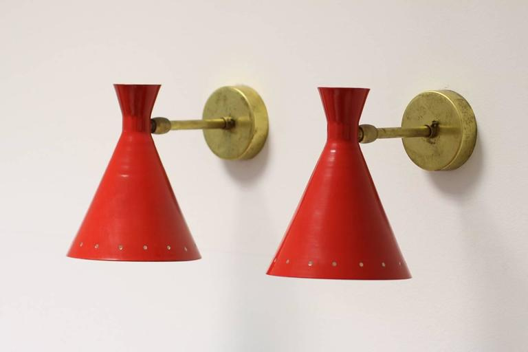 Mid-Century Modern 1 of 16 Beautiful Adjustable Italian Metal Sconces, Brass, Diabolo Style For Sale