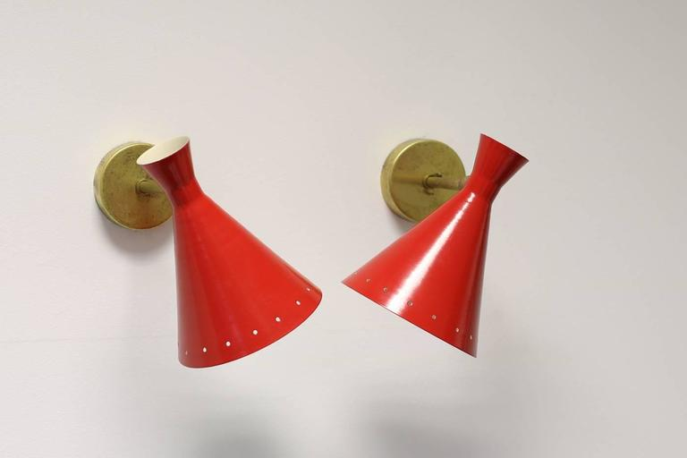 20th Century 1 of 16 Beautiful Adjustable Italian Metal Sconces, Brass, Diabolo Style For Sale