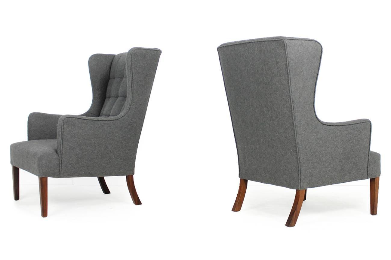 Exclusive and rare pair of danish modern 1960s wingback for Sessel gray 07