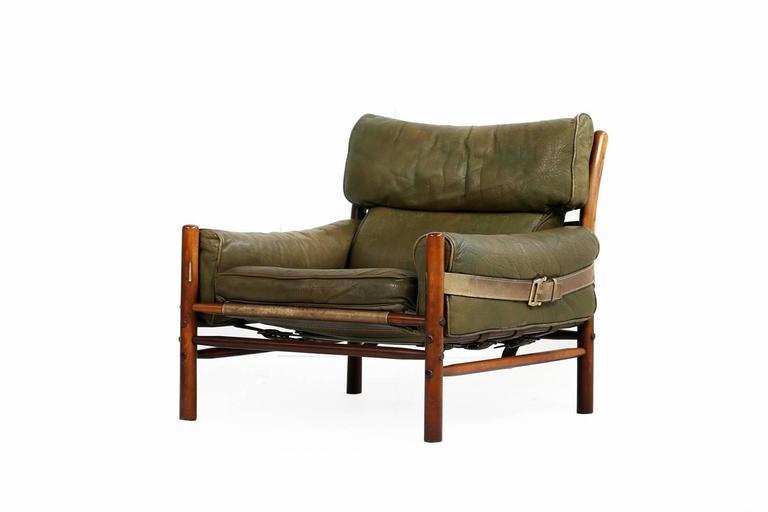 Swedish Fantastic 1960s Arne Norell Leather Lounge Chair Mod. Kontiki Beechwood For Sale