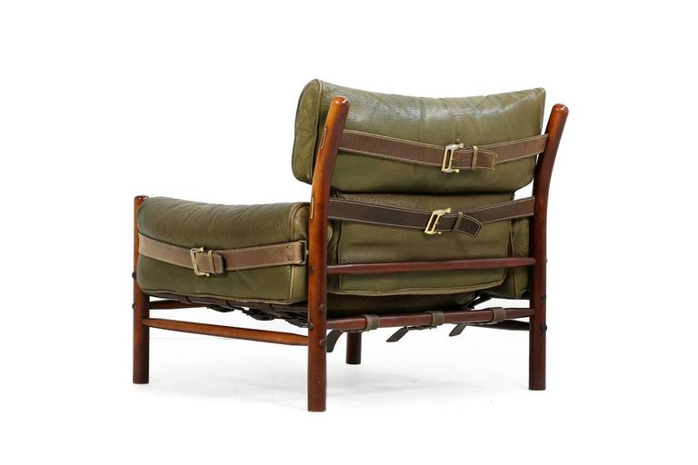 Fantastic 1960s Arne Norell Leather Lounge Chair Mod. Kontiki Beechwood In Excellent Condition For Sale In Hamminkeln, DE
