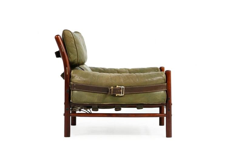 Fantastic 1960s Arne Norell Leather Lounge Chair Mod. Kontiki Beechwood For Sale 1