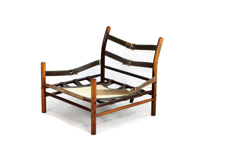 Fantastic 1960s Arne Norell Leather Lounge Chair Mod. Kontiki Beechwood For Sale 2
