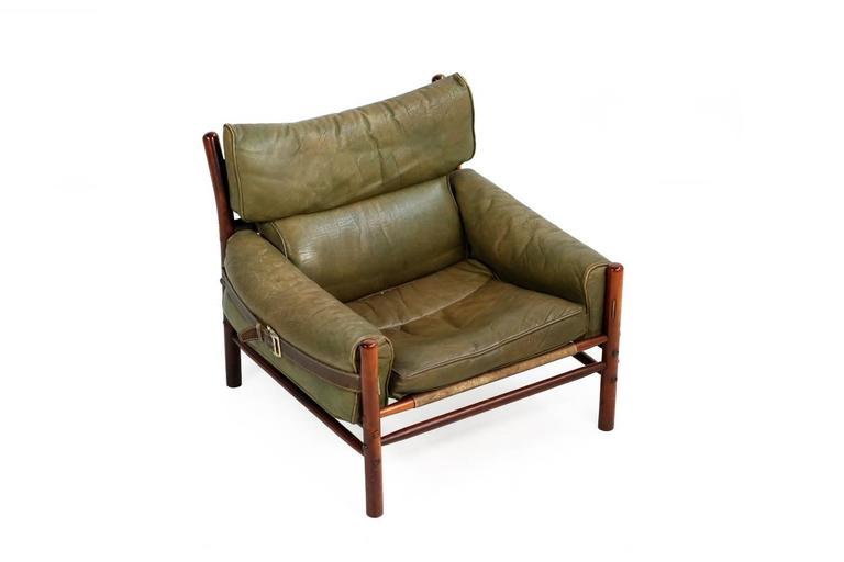 Stained Fantastic 1960s Arne Norell Leather Lounge Chair Mod. Kontiki Beechwood For Sale