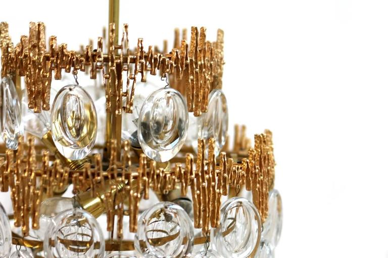 German Impressive Gilt Brass & Crystal Glass Fixture by Palwa 1960s Pendant Chandelier For Sale