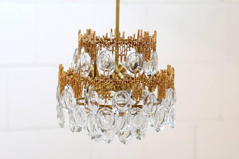 Mid-20th Century Impressive Gilt Brass & Crystal Glass Fixture by Palwa 1960s Pendant Chandelier For Sale