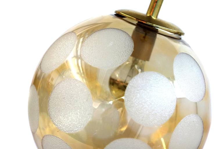 Fantastic 1970s Brass and Glass Globe Pendant Lamp In Excellent Condition For Sale In Hamminkeln, DE
