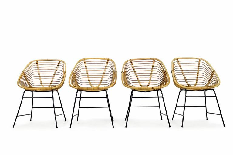 Set of Four Mid Century Modern Bamboo Wicker Chairs with Iron Base  Germany  3Set of Four Mid Century Modern Bamboo Wicker Chairs with Iron Base  . Modern Wicker Chair. Home Design Ideas