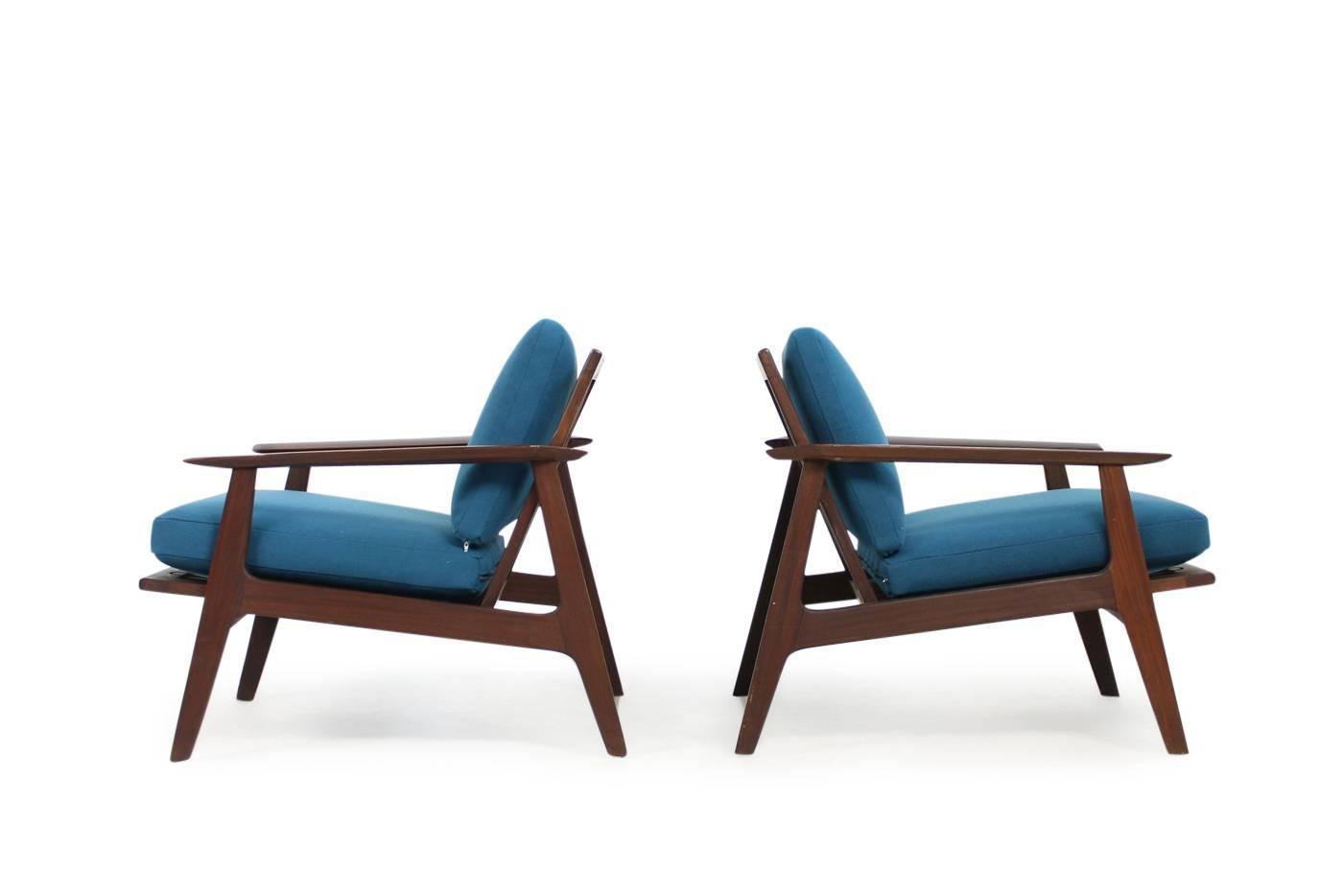 Pair of 1960s sculptural easy chairs stained beechwood and for Lounge chair kopie