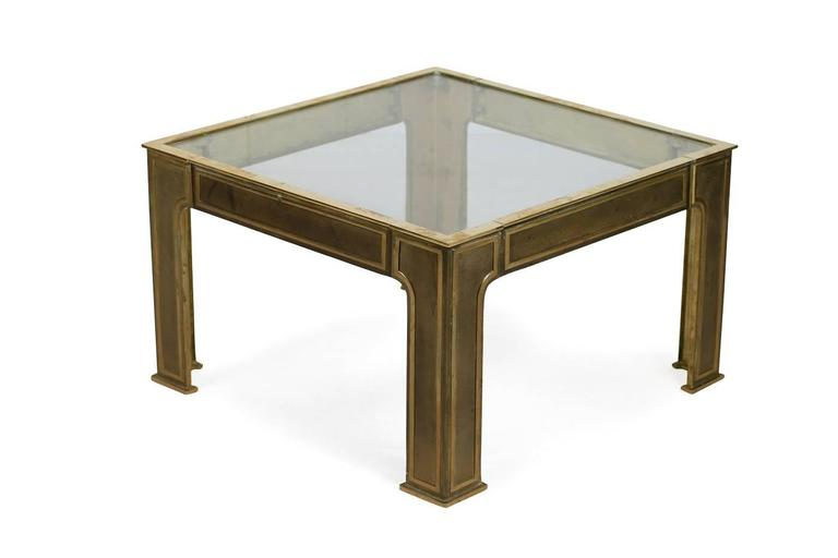Solid Brass 1960s Coffee Table with Clear Glass Mid-Century Modern In Good Condition For Sale In Hamminkeln, DE
