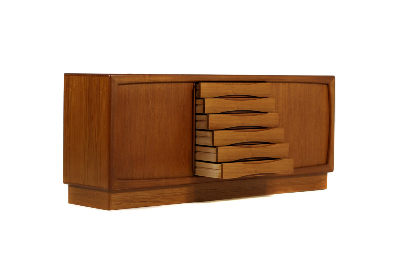 1960s Dyrlund Teak Sideboard With Sliding Doors And Drawers Danish