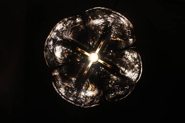 Large 1960s Austrian Kalmar Murano Glass and Brass Leaf Chandelier, Pendant Lamp For Sale 1