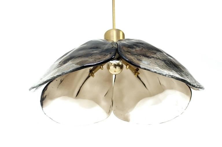 Large 1960s Austrian Kalmar Murano Glass and Brass Leaf Chandelier, Pendant Lamp In Excellent Condition For Sale In Hamminkeln, DE