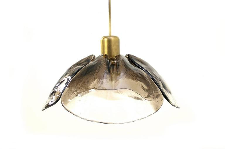 Mid-20th Century Large 1960s Austrian Kalmar Murano Glass and Brass Leaf Chandelier, Pendant Lamp For Sale