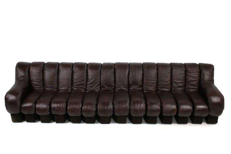 Modern Beautiful 1970s Dark-Brown De Sede DS 600 Lounge Leather Sofa Ueli Berger For Sale