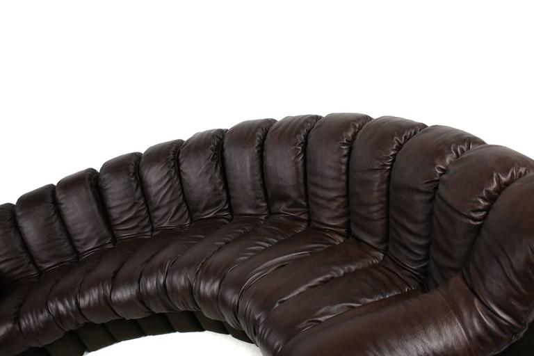 Beautiful 1970s Dark-Brown De Sede DS 600 Lounge Leather Sofa Ueli Berger For Sale 3