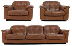 1970s Lounge Set De Sede DS 101 Leather Sofa & 2 Lounge Chairs 'James Bond'