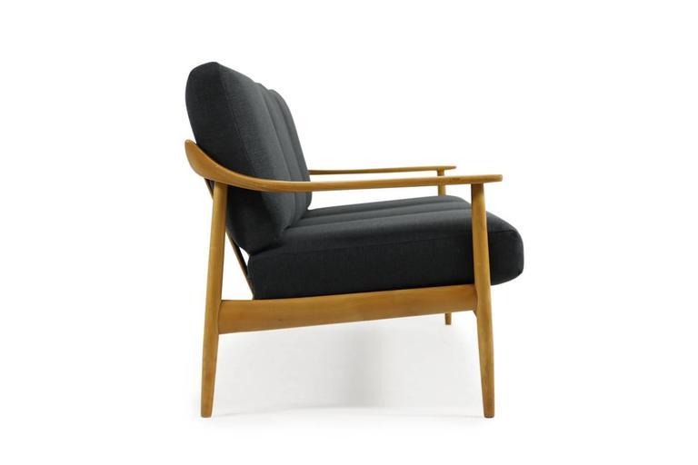 German 1950s Wilhelm Knoll Antimott Cherrywood Sofa Mid-Century Modern New Upholstery For Sale