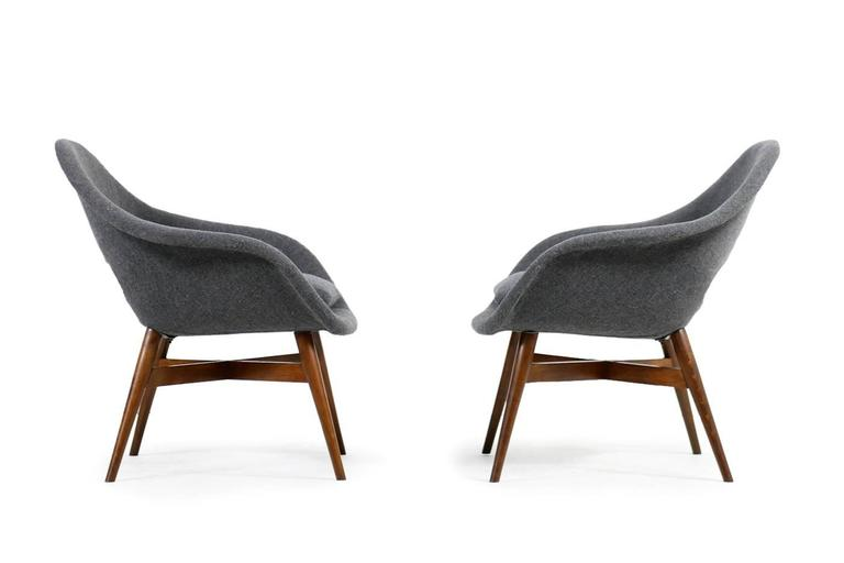 Fabric Beautiful Pair of 1960s Miroslav Navratil Lounge Chairs, New Upholstery For Sale