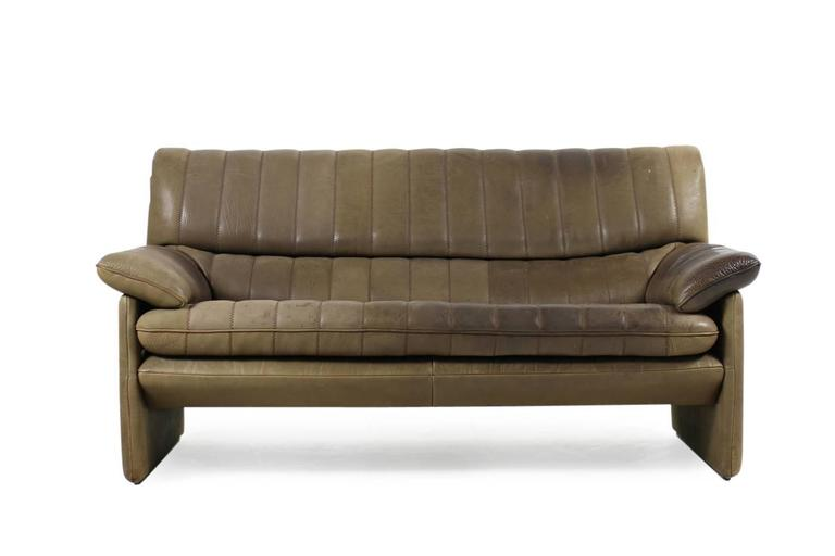 Modern 1970s De Sede DS 86 Vintage Thick Leather Sofa Set High Quality DS 85 For Sale