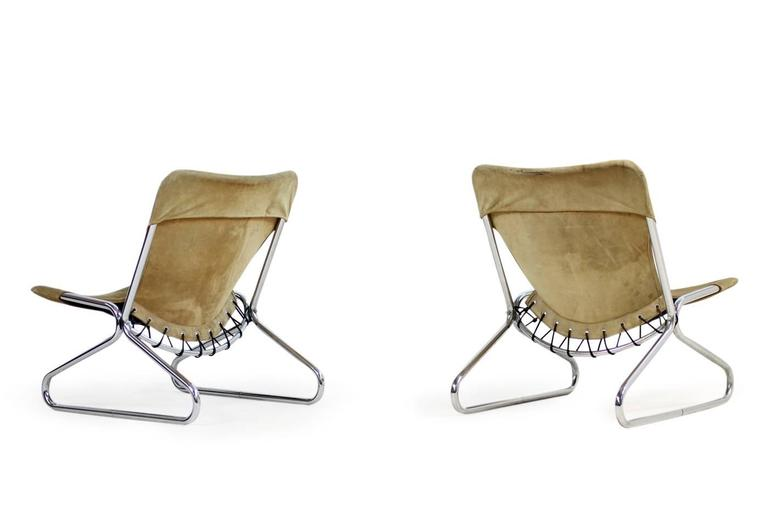 Swedish Pair of 1960s Suede Leather and Chrome Easy Lounge Chairs Danish Modern For Sale