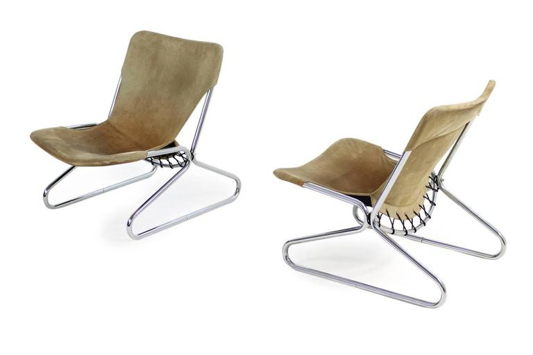 Beautiful pair of 1960s suede leather easy chairs, fantastic design, attrib. to Erik Magnussen, Scandinavian Modern design.