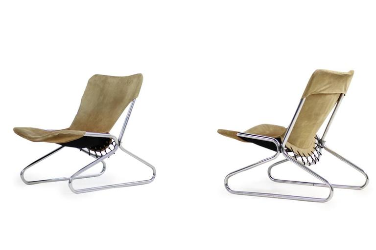 Pair of 1960s Suede Leather and Chrome Easy Lounge Chairs Danish Modern In Good Condition For Sale In Hamminkeln, DE
