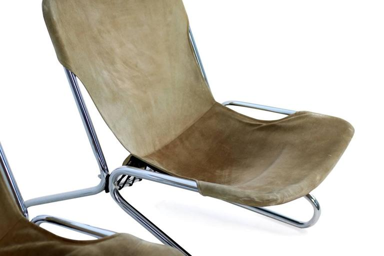 Pair of 1960s Suede Leather and Chrome Easy Lounge Chairs Danish Modern 8