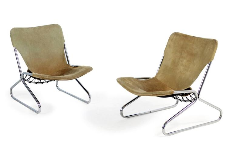 Pair of 1960s Suede Leather and Chrome Easy Lounge Chairs Danish Modern For Sale 1