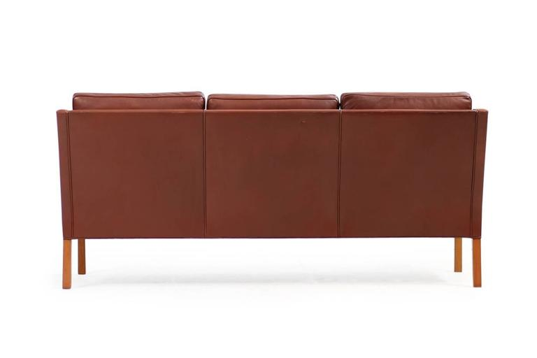 Mid 20th Century Beautiful 1960s Borge Mogensen Mod 2209 Leather Lounge Sofa Fredericia