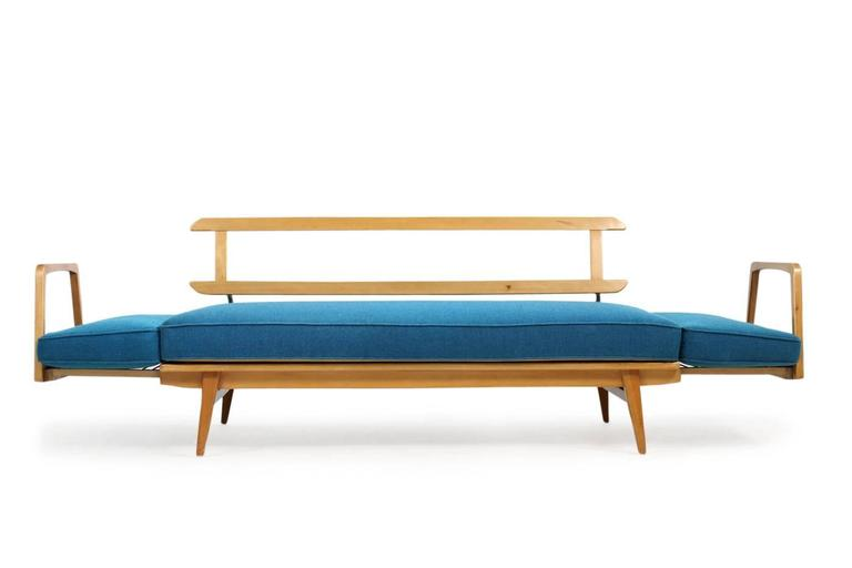 Rare Beautiful 1950s Beech Wood Extendable Daybed Sofa Mid Century Modern