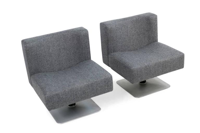 Metal Pair of 1970s Modular Lounge Chairs Herbert Hirche for Mauser, Germany, 1974