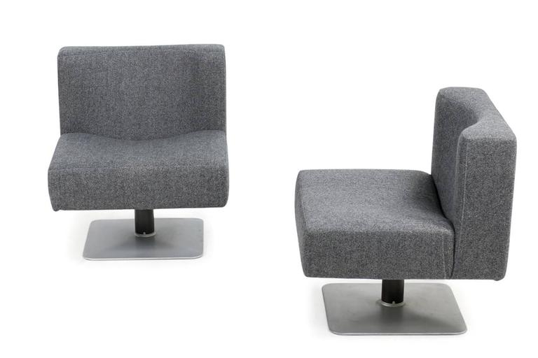 Pair of 1970s Modular Lounge Chairs Herbert Hirche for Mauser, Germany, 1974 1