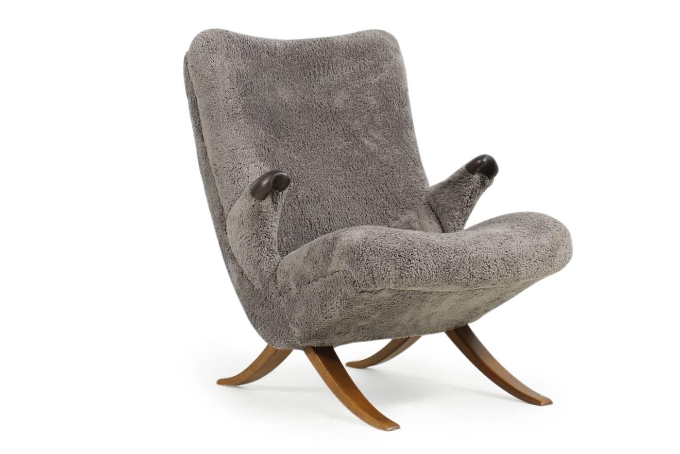 Beautiful And Very Rare 1950s Organic Lounge Chair, New Upholstery And  Covered With Super Soft
