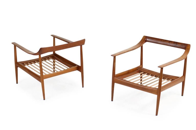 Pair of 1960s Teak & Leather Easy Lounge Chairs Knoll Antimott Mid-Century 9