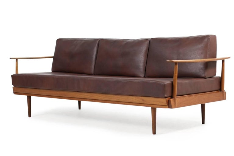 1960s teak and leather daybed knoll antimott mid century modern sofa adjustable for sale at 1stdibs. Black Bedroom Furniture Sets. Home Design Ideas
