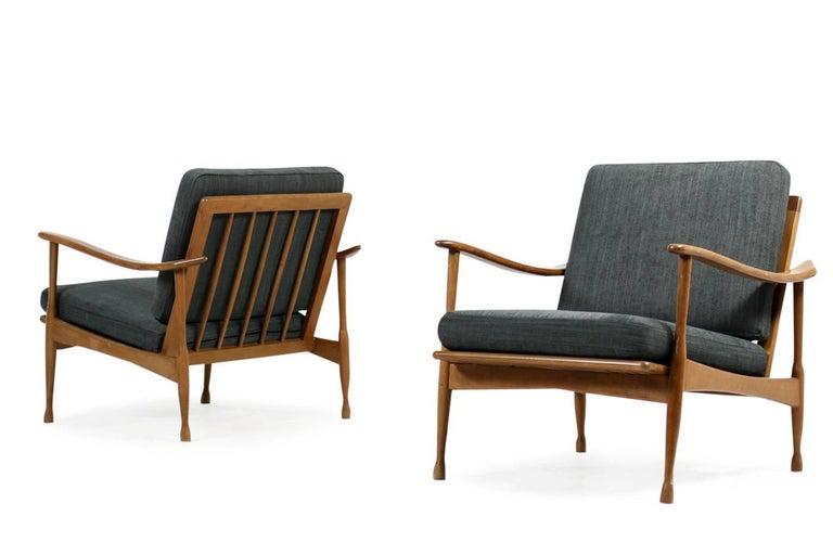 1950s Italian Organic Lounge Sofa Beechwood Mid-Century Modern, New Upholstery For Sale 5